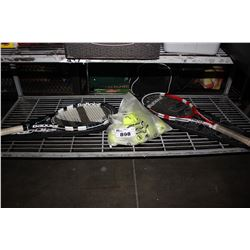 2 TENNIS RACKETS WITH CASES AND BAG OF TENNIS BALLS