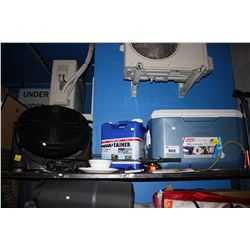 SHELF LOT OF ASSORTED HOUSEHOLD GOODS INCLUDING FAN, COOLER, AQUATAINER, FISHING ROD AND MORE