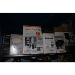 SHELF LOT OF ASSORTED HOUSEHOLD GOODS INCLUDING FLUSHMOUNT LIGHT, FOOD PROCESSOR, OFFICE CHAIR AND
