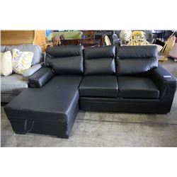 2 PIECE BLACK LEATHER SECTIONAL SOFA WITH PULL OUT BED