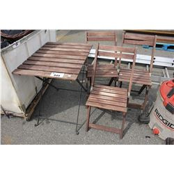 WOOD FOLDING PATIO TABLE AND 3 CHAIRS