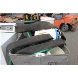 BIN OF LARGE HOSE, BUCKETS AND MORE