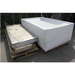 PALLET OF ASSORTED FURNITURE AND PALLET OF WHITE TRAYS