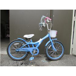 CHILDS BLUE HUFFY FLOWER GIRL BIKE
