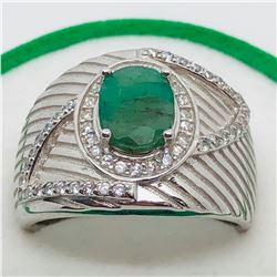 SILVER EMERALD CUBIC ZIRCONIA  MEN'S RING