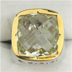 BRASS GREEN AMETHYST(7.6CT)  MEN'S RING