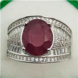 SILVER RUBY CUBIC ZIRCONIA  RING