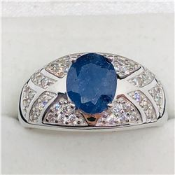 SILVER SAPPHIRE CUBIC ZIRCONIA  RING
