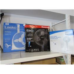 LASKO AIR CIRCULATOR FAN, HONEYWELL ADVANCED QUIET SET FAN, LIKEWISE OSCILLATING PEDESTAL FAN