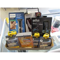 PHILIPS SERIES 7000 TOTAL BODY SHAVER, GILLETTE MACH3 TURBO REPLACEMENT BLADES, BRAUN BEAD TRIMMER,