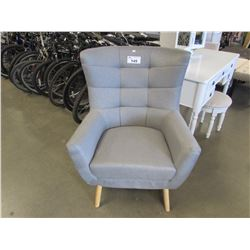 GREY CLOTH WING BACK CHAIR