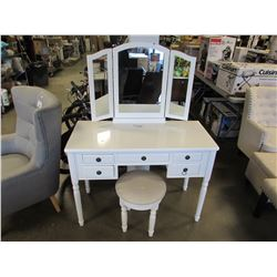 MAKE UP VANITY WITH MIRROR & STOOL