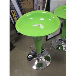 GREEN ADJUSTABLE HEIGHT BAR STOOL