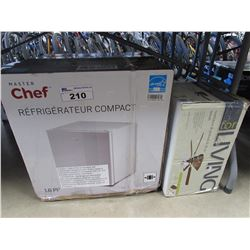 MASTER CHEF COMPACT REFRIGERATOR & CEILING FAN