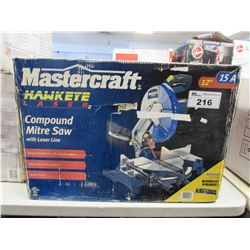 "MASTERCRAFT 12"" HAWKEYE LASER COMPOUND MITRE SAW WITH LASER LINE"