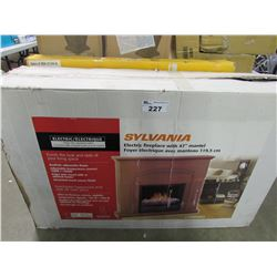 "SYLVANIA ELECTRIC FIREPLACE WITH 47"" MANTEL"