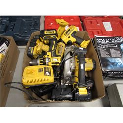 LARGE BOX OF ASSORTED DEWALT POWER TOOLS, BATTERIES & CHARGERS
