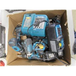 BOX OF ASSORTED MAKITA POWER TOOLS, BATTERIES & CHARGERS