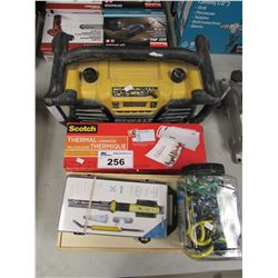 DEWALT WORK SHOP RADIO, SCOTCH THERMAL LAMINATOR, NEXTECH SOLDERING KIT, WOODEN BOX & CONTENTS,