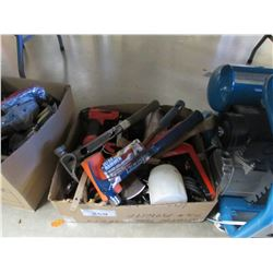 BOX OF ASSORTED TOOLS (HAMMERS, ASSORTED HAND TOOLS)
