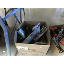 BOX OF ASSORTED HAND TOOLS, BATTERIES, CORDS, POWER TOOLS, ETC