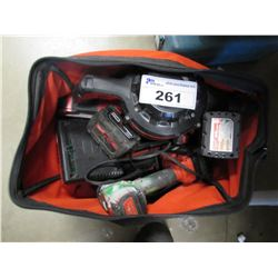 MILWAUKEE TOOL BAG & CONTENTS, 3 TOOL BOX CONTAINERS