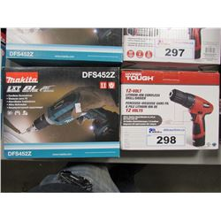 MAKITA 18V LITHIUM-ION CORDLESS SCREWDRIVER (DFS452Z) & HYPER TOUGH 12V LITHIUM-ION CORDLESS