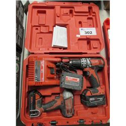 "MILWAUKEE IMPACT DRIVER, MILWAUKEE 1/2"" DRIVER/DRILL, CHARGER, BATTERIES & CASE"