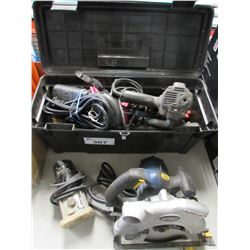 TOOL BOX & CONTENTS, ASSORTED POWER TOOLS (SOME NEED REPAIR)
