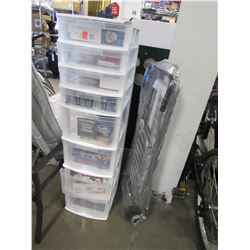8 DRAWER PLASTIC STORAGE & CONTENTS, ALUMINUM SHOPPING CART