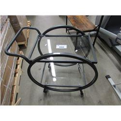 2-TIER METAL/GLASS ROLLING CART