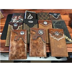 11 ASSORTED LEATHER WESTERN STYLE WALLETS