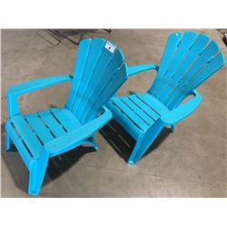 PAIR OF ADIRONDACK TURQUOISE BLUE CHAIRS