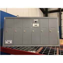 US MAIL APPROVED LOCKING MAIL 6 RECEPTACLE UNIT WITH KEYS
