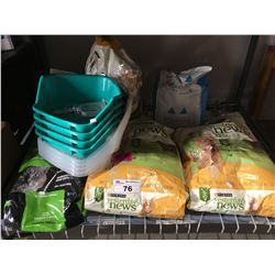 SHELF LOT OF CAT LITTER & LITTER BOXES