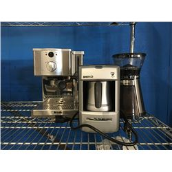 GROUP OF 3 SMALL KITCHEN APPLIANCE - BREVILLE COFFEE MAKER, CUISNART COFFEE GRINDER & TURKISH