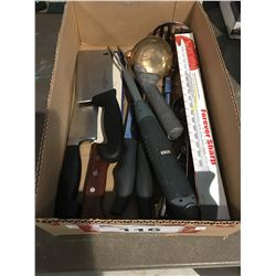 BOX OF ASSTD KITCHEN KNIVES/UTENSILS - INCLUDES 2 J.A.HENKELS & 1 FRENCH CHEF KNIFE