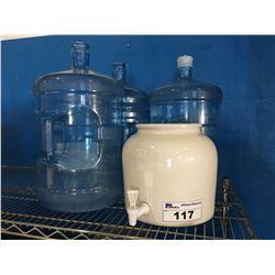 CERAMIC WATER DISPENSER - 1 FULL 5 GAL WATER JUG & 2 EMPTY JUGS