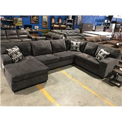 3 PCE CHARCOAL GREY UPHOLSTERED SECTIONAL SOFA WITH 3 THROW CUSHIONS