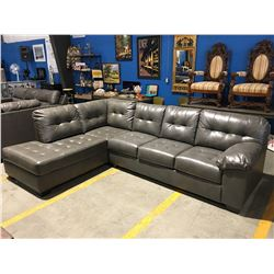 2 PCE GREY LEATHER UPHOLSTERED SECTIONAL SOFA