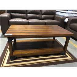 3 PCE CONTEMPORARY WOOD WITH METAL ACCENTS COFFEE & END TABLE SET