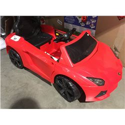 CHILDS BATTERY OPERATED RIDE ON RED LAMBORGHINI TOY CAR (NO REMOTE)