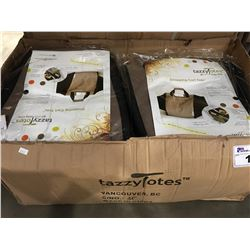 CASE OF 16 TAZZY TOTES ECO FRIENDLY REUSABLE SHOPPING CART TOTES (BROWN & BLACK)