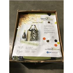 1 CASE OF 10 TAZZY TOTES ECO FRIENDLY BOTTLE TOTES (GREEN)