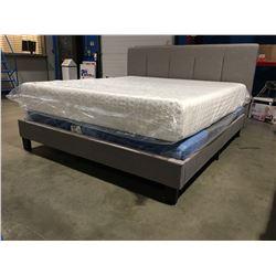 KING SIZE GREY UPHOLSTERED BED (HEADBOARD,FOOTBOARD& RAILS)