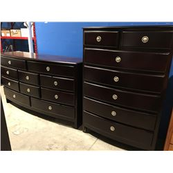 2 PCE BEDROOM DRESSER SET - 10 DRAWER DRESSER & 7 DRAWER HIGHBOY DRESSER (MINOR DAMAGE TO 1 CORNER)