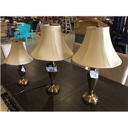 3 PCE BRASS FINISH TABLE LAMP SET