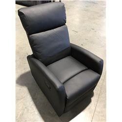 BLACK LEATHER UPHOLSTERED RECLINER