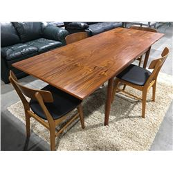 5 PCE MID CENTURY DANISH MODERN TEAK DINING TABLE WITH 4 CHAIRS & 2 PULLOUT LEAVES