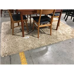 CONTEMPORARY LIGHT BEIGE SHAG AREA RUG 6' X 8'